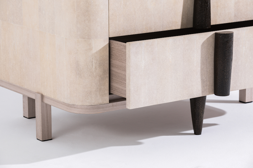 Alexander Lamont Capanema Nightstand in shagreen and textured bronze pulls