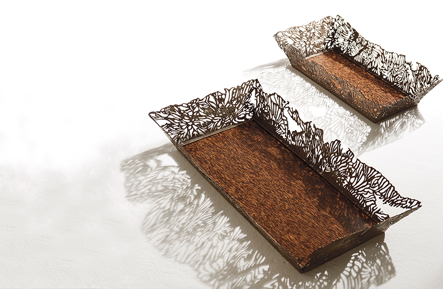 Alexander Lamont Lagoon Trays in black palmwood and bronze