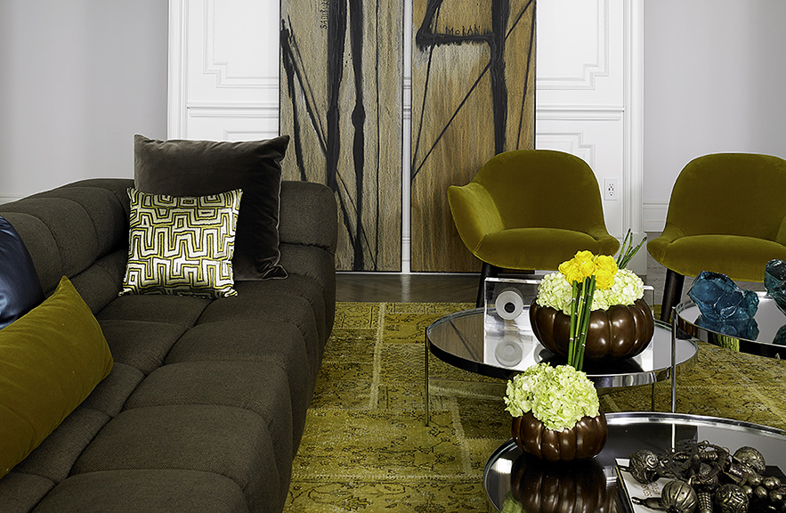 Carlos Domenech designed room with Alexander Lamont bronze gourd vessels