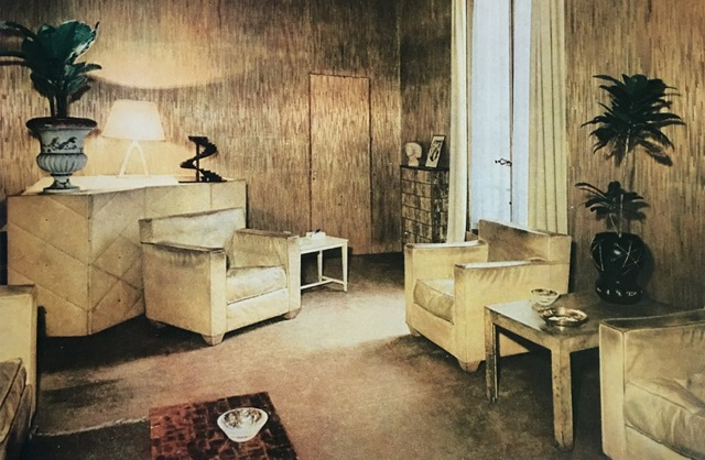 Art Deco room with straw marquetry walls, mica cabinet and shagreen surfaaces