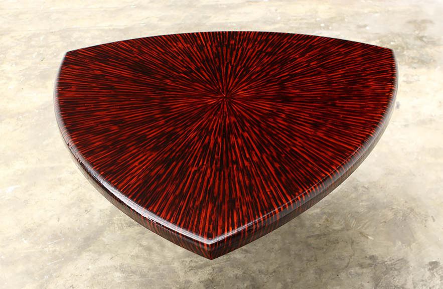 Alexander Lamont custom tabletop in lacquered straw