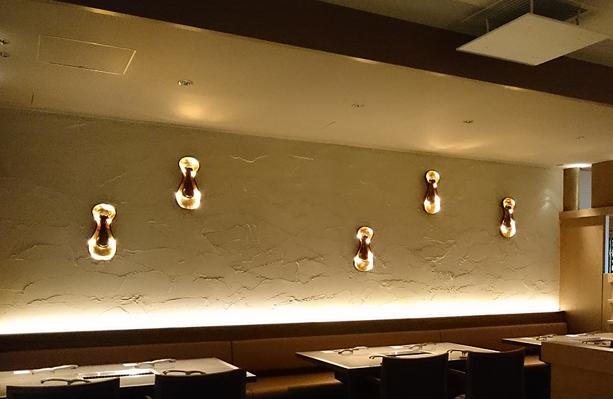 Restaurant by Design Eight Tokyo sconces by Alexander Lamont