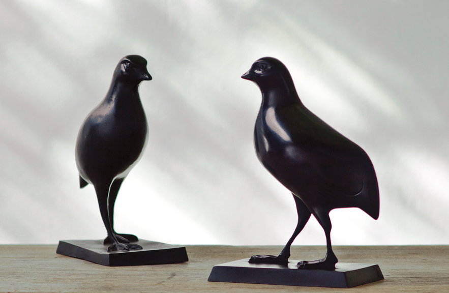 Pair of Quail Sculpture in Bronze by Alexander Lamont