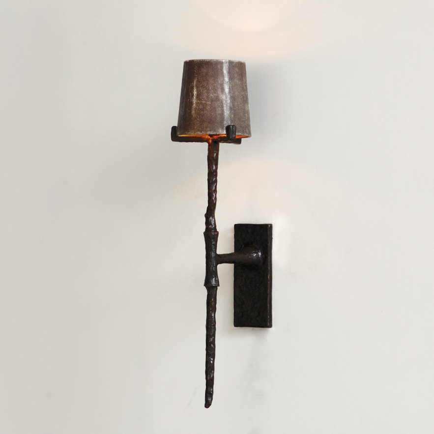 Alexander Lamont Archer Wall Sconce in bronze with shagreen lampshade lined with gold leaf