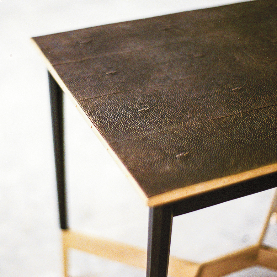 Alexander Lamont Alexandria table in bronzed shagreen with brass and lacquer base