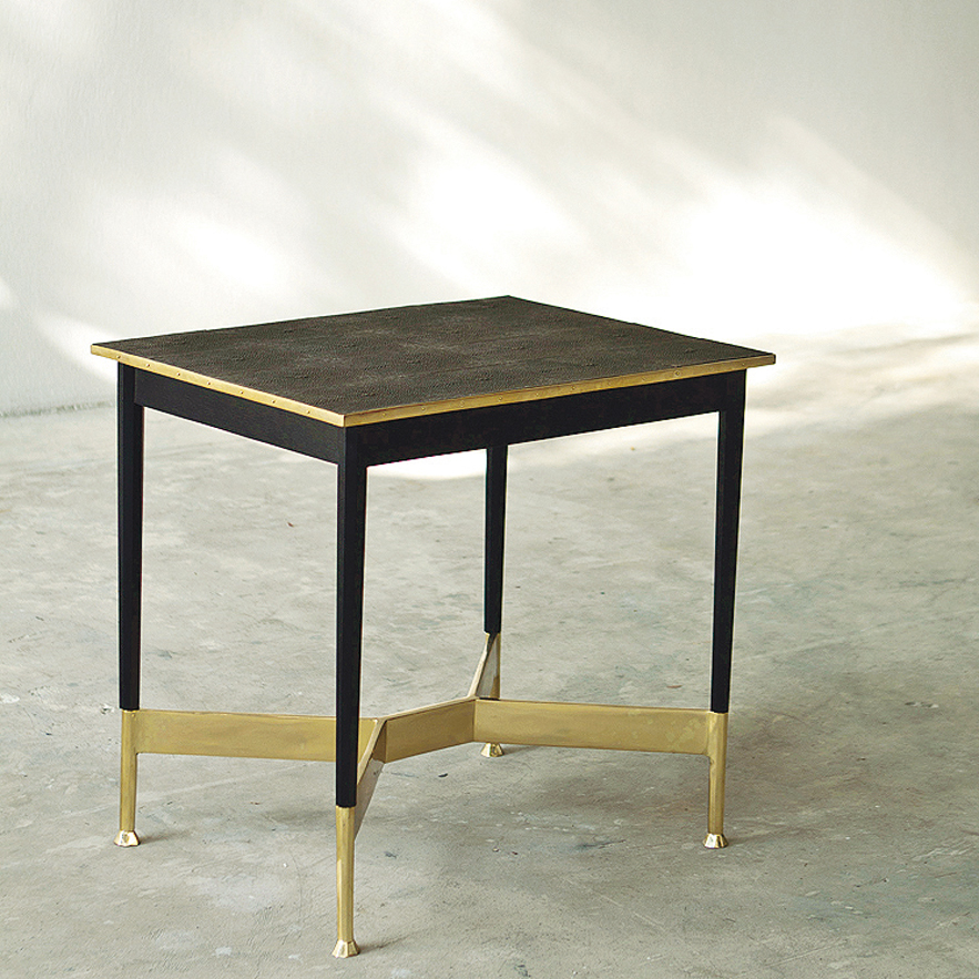 Alexander Lamont bronze shagreen Alexandria Table with brass and lacquer base