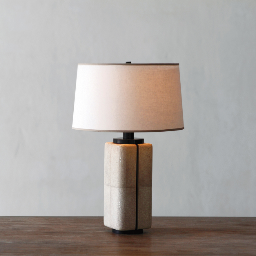 Alexander Lamont Canister L& in shagreen bronze and linen shade & The Story of the Canister Lamp | Alexander Lamont