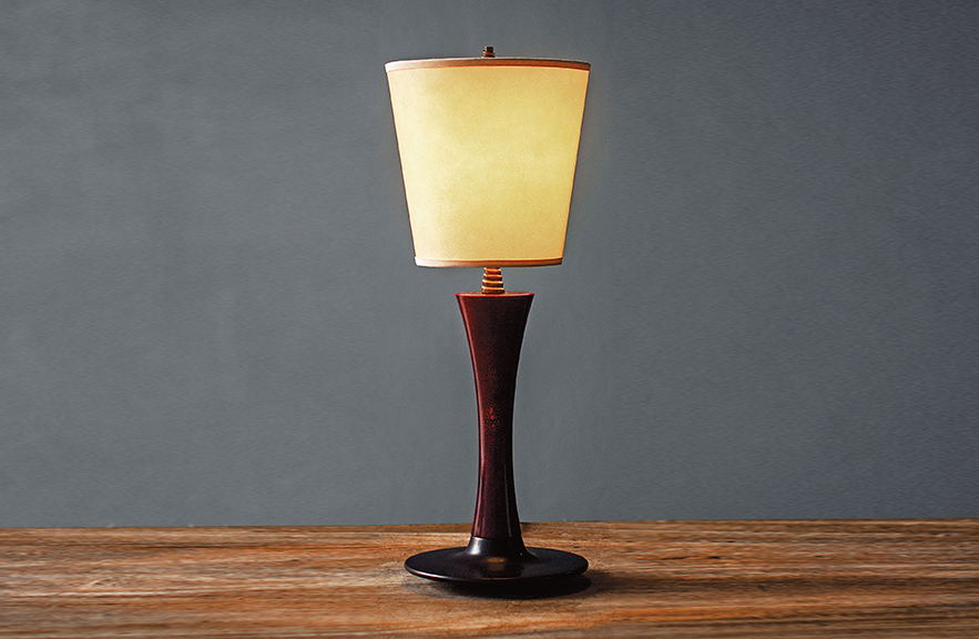 Alexander Lamont Fondre table lamp in laquer and parchment shade