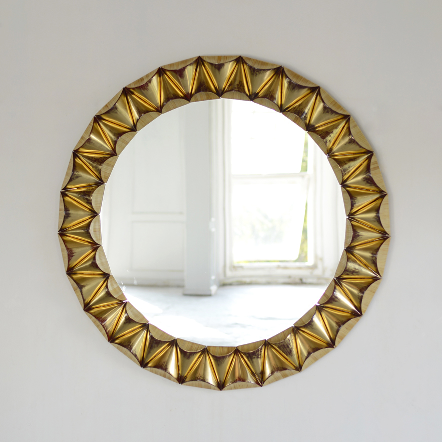 Alexander Lamont jewellery inspired Magnificat Mirror in straw marquetry, lacquer and gold leaf.