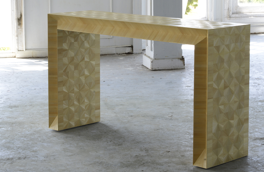 Kertas Console in straw marquetry by Alexander Lamont
