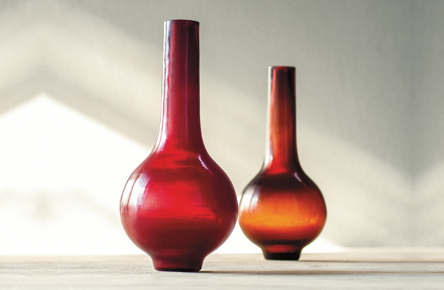 Modern Palace Peking Glass vases by Alexander Lamont