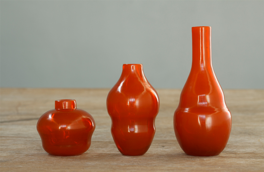 Miniature Peking Glass vases by Alexander Lamont