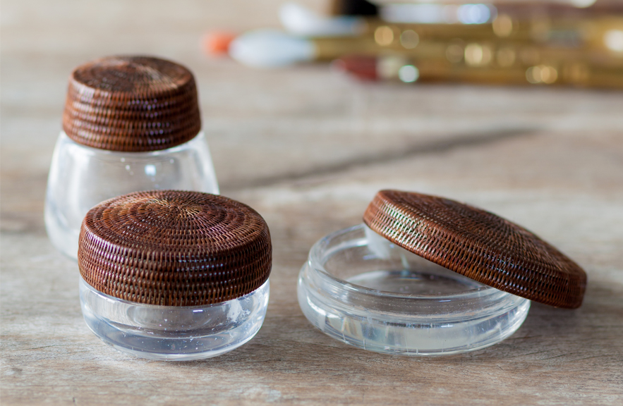 Alexander Lamont rock crystal boxes with yan lipao woven lids