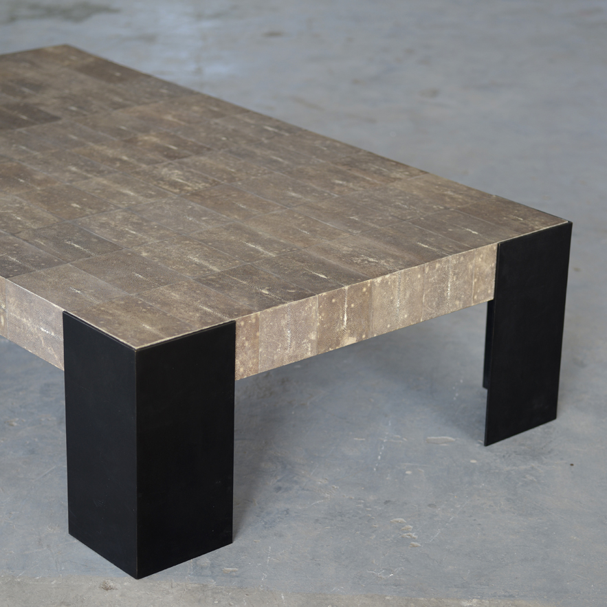Alexander Lamont Angle Coffee Table in shagreen and bronze
