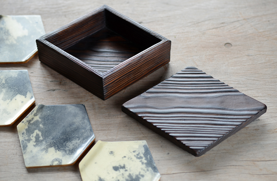 Alexander Lamont parchment coasters with burnt wood box