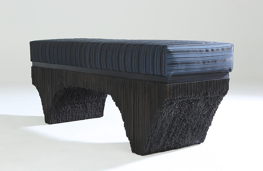 Alexander Lamont Vault Bench with blue striped horsehair cushion