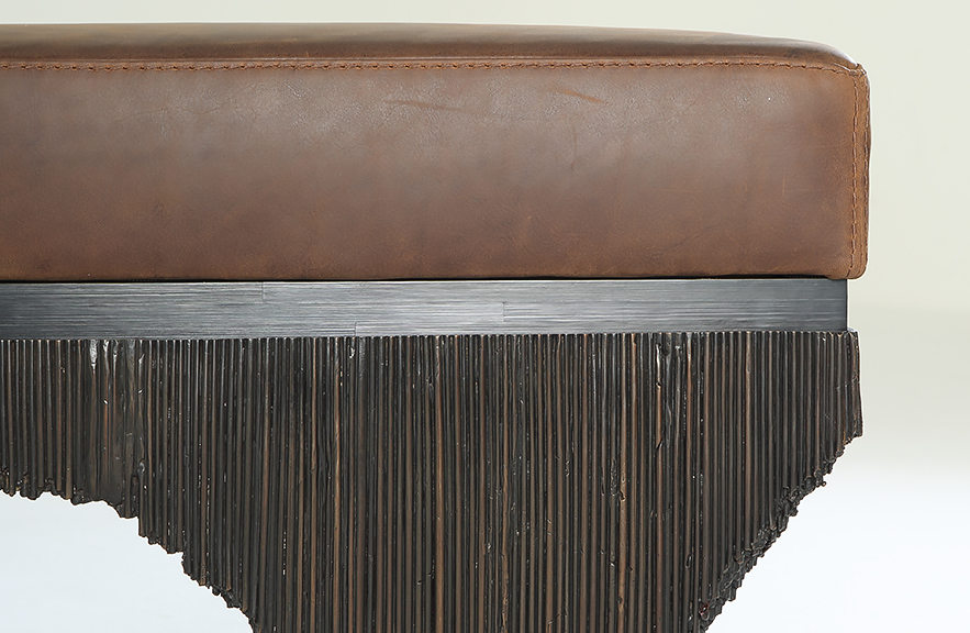 Alexander Lamont Vault Bench with leather cushion and bronze base