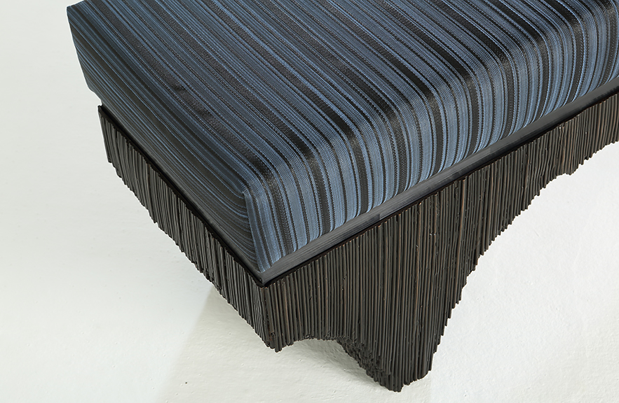 Alexander Lamont Vault Bench with blue striped horsehair cushion and bronze base