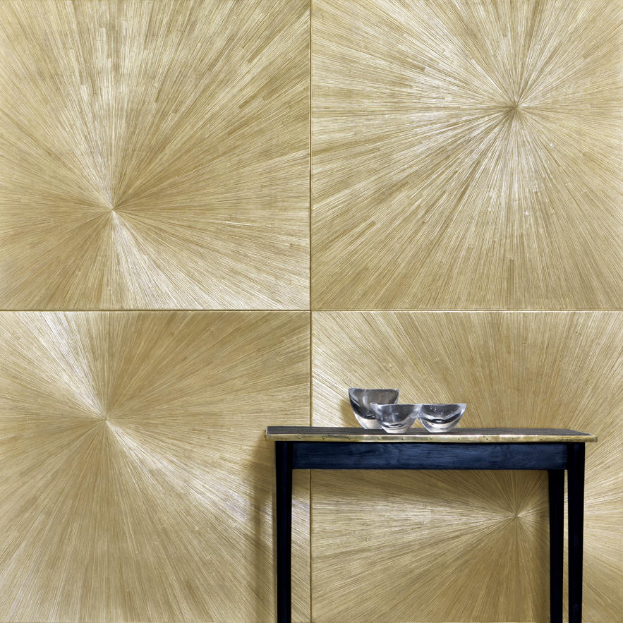 Alexander Lamont Le Mur Etoile wall panels straw marquetry and gold leaf