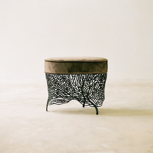 Photograph by Yuna Yagi for Alexander Lamont-Fan Tabouret Stool in bronze and velvet