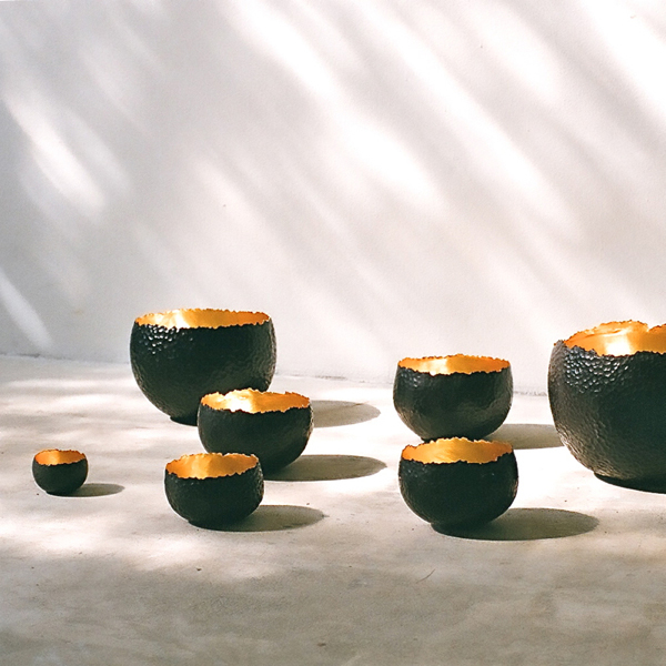 Photograph by Yuna Yagi for Alexander Lamont - Bronze and gold leaf hammered bowls