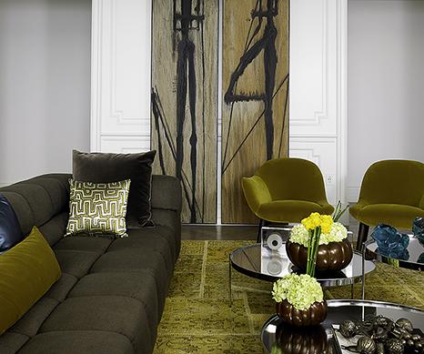 Home interior by Deborah Wecselman Design, Alexander Lamont Lusty Bronze Vessels