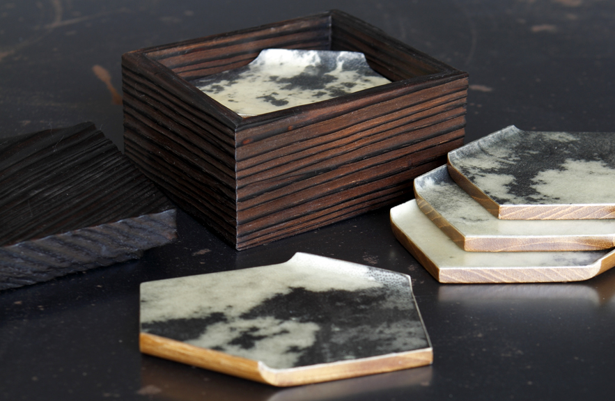 Alexander Lamont parchment coasters and burnt wood box