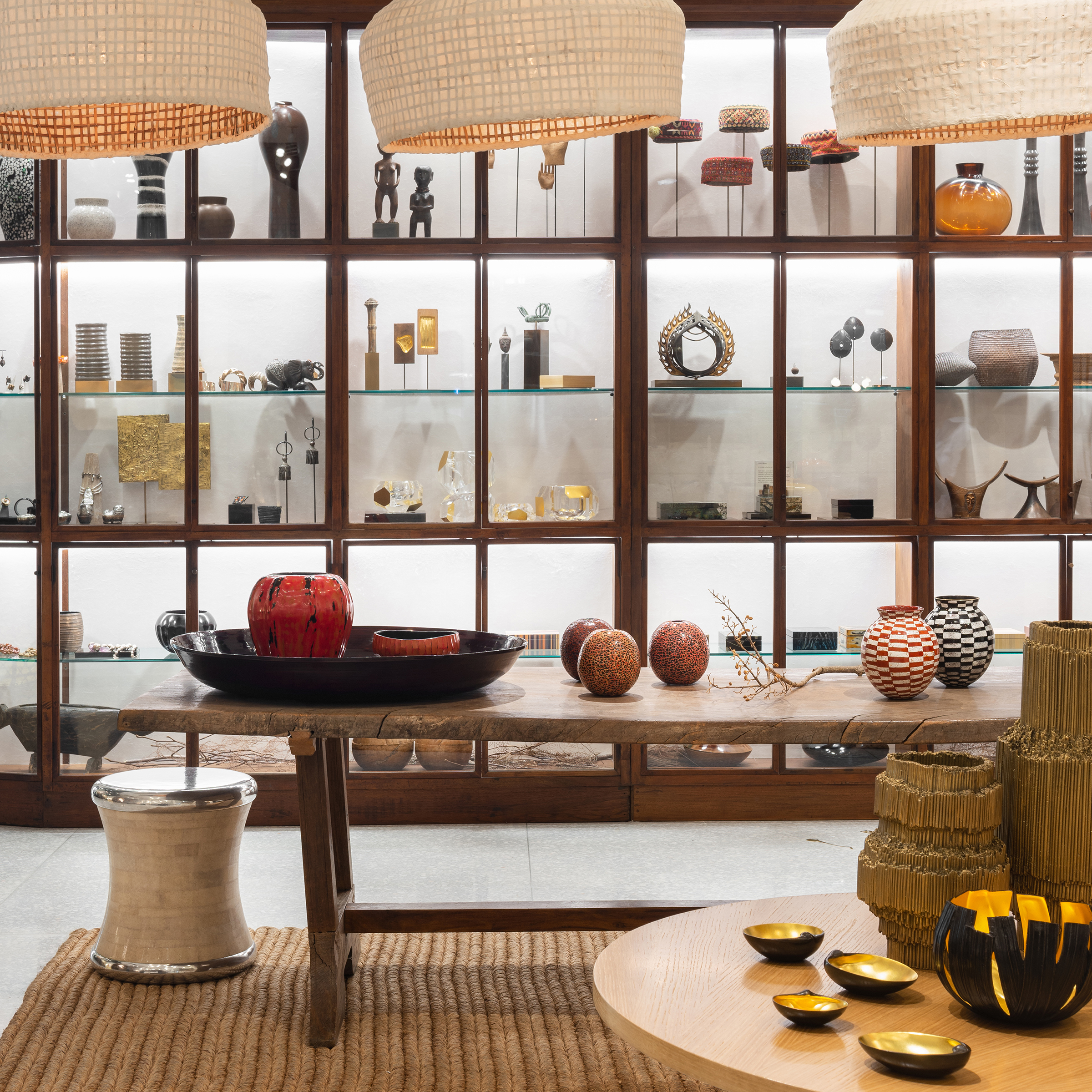 Alexander Lamont flagship shop is a quiet and sophisticated space where we show our collections of lighting, object, furniture and materials.