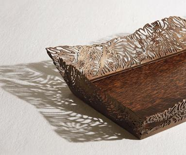 Alexander Lamont Lagoon Tray in black palmwood and bronze