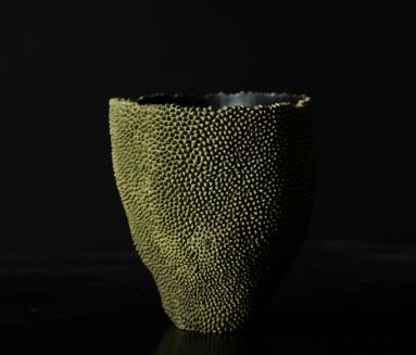 Jackfruit inspired bronze vessel by Alexander Lamont
