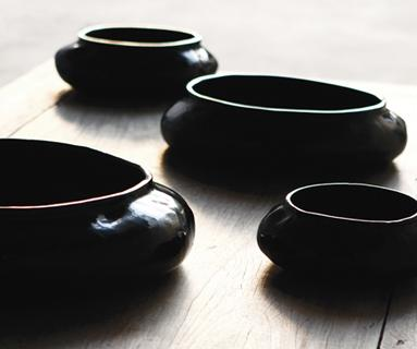 Alexander Lamont Ripple Bowls in black lacquer