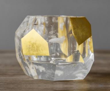 Rock crystal and gold leaf Coupe Vessel by Alexander Lamont