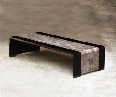 Alexander Lamont Tourbillon coffee table in shagreen, lacquer and bronze